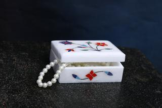 (6 Inch) Floral Painting Decorative Marble Box For Jewellery Storage / Gift
