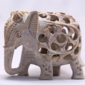 """Sehar Crafts Handmade 2.5"""" Marble Elephant With Jali Design Carving With Baby Elephant Inside For Home Decoration and Gifting …"""