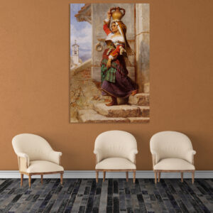 Canvas Painting - Village veiw  Art Wall Painting - Gallery Wrapped Wooden Frame (33 inches X 21 inches