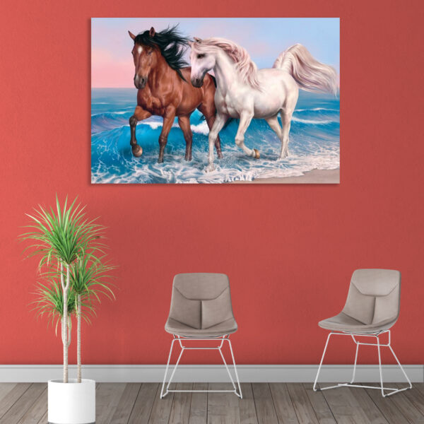 Sehar Crafts  Two Horses Canvas Painting with Wooden Frame Gallery Wrapped