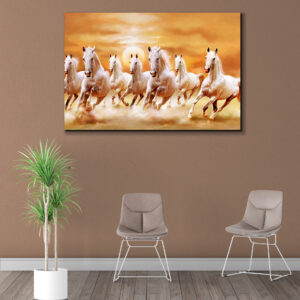 Sehar Crafts Saven Horses Canvas Wall Painting With Wooden Frame  Vastu for Living Room