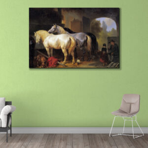 Sehar Crafts Two Horse Canvas Wall Painting With Wooden  Frame for Living Room