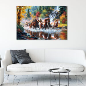 Sehar Crafts Saven Horses Modern Canvas wall Painting with Wooden Frame for Bedroom