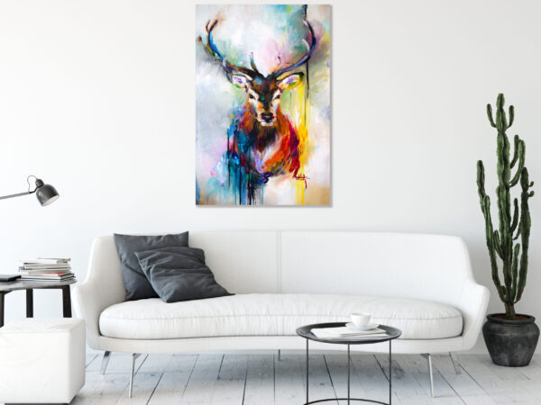 Sehar Crafts  Deer Wildlife Canvas Wall  Painting With Wooden Frame for Living Room