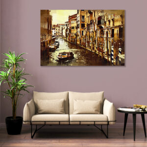 Sehar Crafts  City View Canvas Painting With Wooden Frame for Living Room