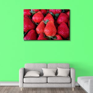 Sehar Crafts Strawberry Natural Canvas Painting With Wooden Frame for Living Room