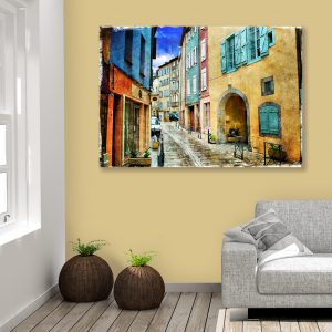 Sehar Crafts Abstract Canvas Painting Street view, Multicolour, Modern, Wooden Frame for Living Room, Bedroom, Office, Hotels, (33 inches X 21 inches SeharC210171 )
