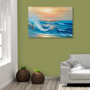 Sehar Crafts Sea Nature view Canvas Painting, Multicolour, Modern, Wooden Frame for Living Room, Bedroom, Office, Hotels, (33 inches X 21 inches, SeharC210173)