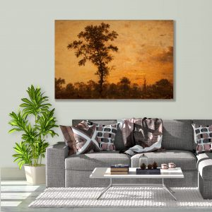 Sehar Crafts Nature sun set view, Canvas Painting, Multicolour, With Wooden Frame for Living Room, Bedroom, Office, Hotels, (33 inches X 21 inches, SeharC210179)