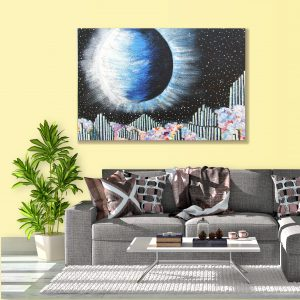 Sehar Crafts  Abstract Canvas Moon Painting, Multicolour, With Wooden Frame for Living Room, Bedroom, Office, Hotels, (33 inches X 21 inches, SeharC210181)
