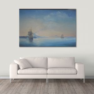 Sehar Crafts Nature view Sea Canvas Painting, Multicolour, With Wooden Frame for Living Room, Bedroom, Office, Hotels, (33 inches X 21 inches, SeharC210185)