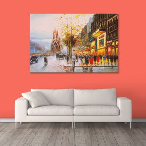 Sehar Crafts Public Canvas Painting, Multicolour, Modern,With Wooden Frame for Living Room, Bedroom, Office, Hotels, (33 inches X 21 inches, SeharC210187)