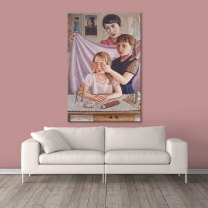 Sehar Crafts Sisters Brother Love Canvas Painting, Multicolour, Modern,With Wooden Frame for Living Room, Bedroom, Office, Hotels, (33 inches X 21 inches, SeharC210190)