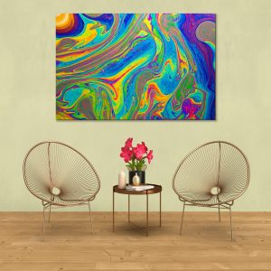 Sehar Crafts Abstract Canvas Painting, Multicolour, Wooden Framed for Living Room, Bedroom, Office, Hotels (33 inches X 21 inches SeharC210195)