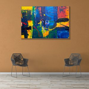 Sehar Crafts Abstract Canvas Painting, Multicolour, Wooden Framed for Living Room, Bedroom, Office, Hotels, (33 inches X 21 inches SeharC210196)