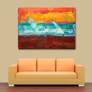 Sehar Crafts Abstract Canvas Painting, Multicolour, Wooden Framed for Living Room, Bedroom, Office, Hotels (33 inches X 21 inches SeharC210198)