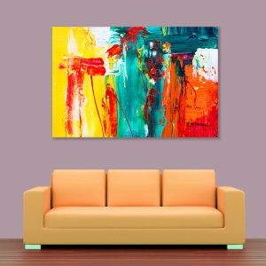 Sehar Crafts Abstract Canvas Painting, Multicolour, Wooden Framed for Living Room, Bedroom, Office, Hotels (33 inches X 21 inches SeharC210200)