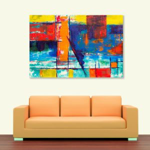 Sehar Crafts Abstract Canvas Painting, Multicolour, Wooden Framed for Living Room, Bedroom, Office, Hotels (33 inches X 21 inches SeharC210201)