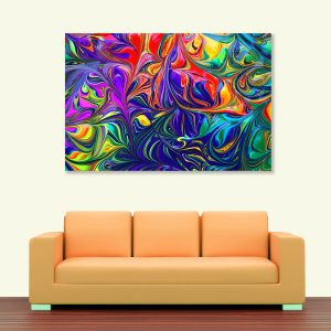 Sehar Crafts Abstract Canvas Painting, Multicolour, Wooden Framed for Living Room, Bedroom, Office, Hotels (33 inches X 21 inches SeharC210202)