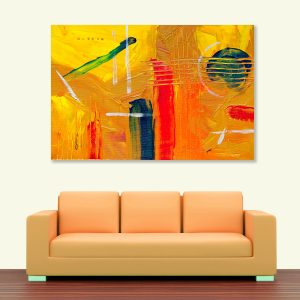 Sehar Crafts Abstract Canvas Painting, Multicolour, Wooden Framed for Living Room, Bedroom, Office, Hotels (33 inches X 21 inches SeharC210204)
