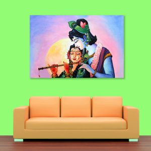 Sehar Crafts Radha Krishna Canvas Painting, Wooden Framed for Living Room, Bedroom, Office, Hotels (33 inches X 21 inches SeharC210208)